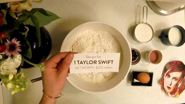 Debt.com Pricey Video still shot: Recipe for 1 Taylor Swift, Net Worth $250 million