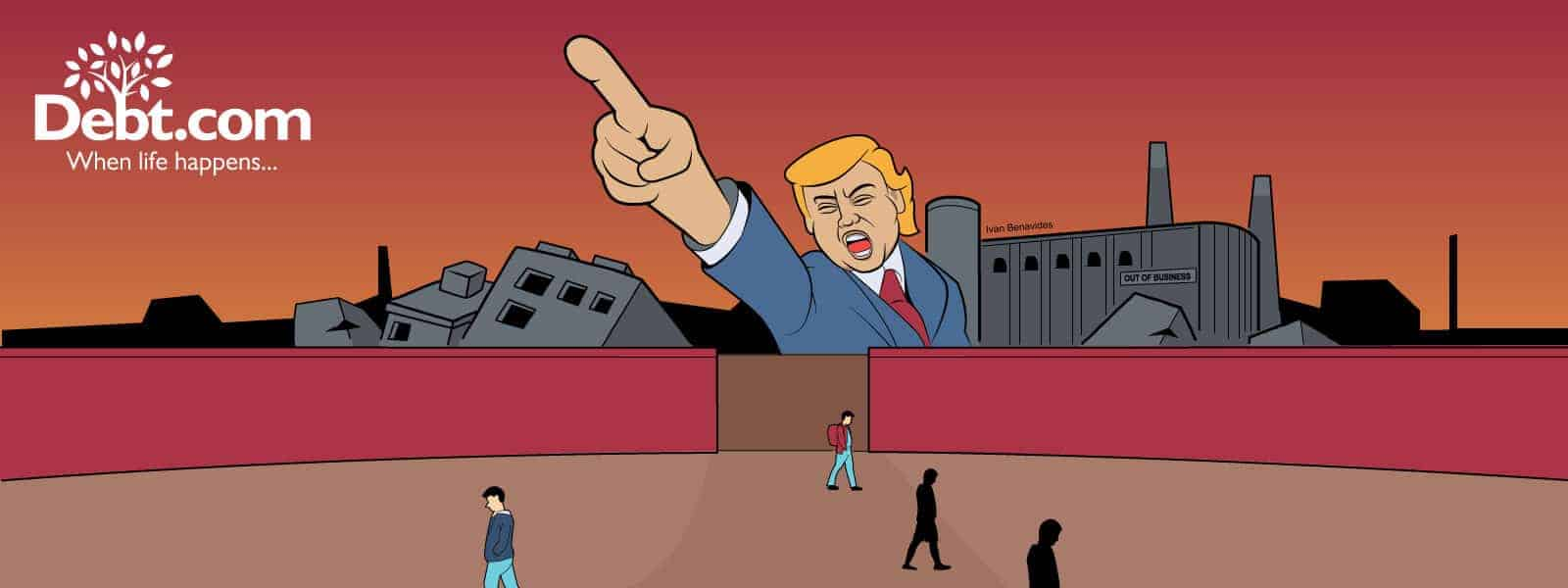 Donald Trump yells at immigrants to go away and stop stealing our jobs against a foreground of shuttered factories in a Soviet-style illustration
