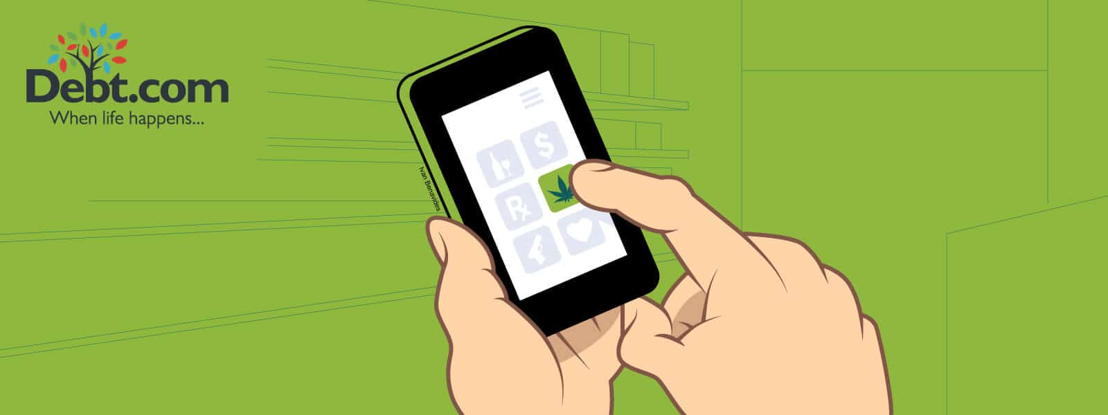 Debt.com Illustration by Ivan Benavides: Smartphone app to order delivery service from a marijuana dispensary