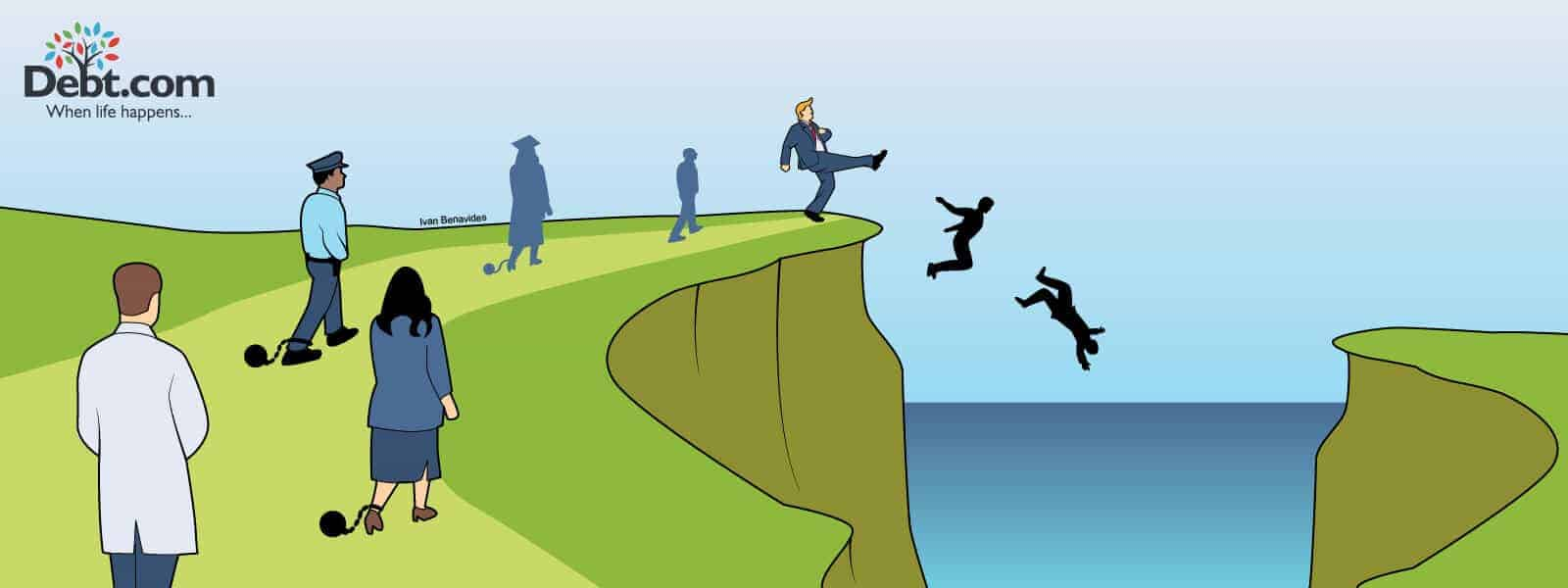 Donald Trump punts people seeking public student loan forgiveness off a cliff (illustrated)