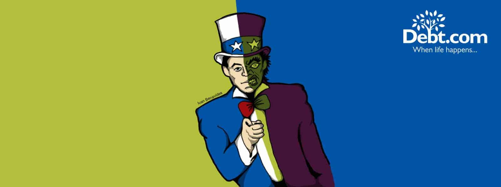 Uncle Sam is a two-faced monster when it comes to tax debt (illustrated)