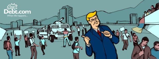 Donald Trump gestures at a chaotic scene in Venezuela (illustrated)
