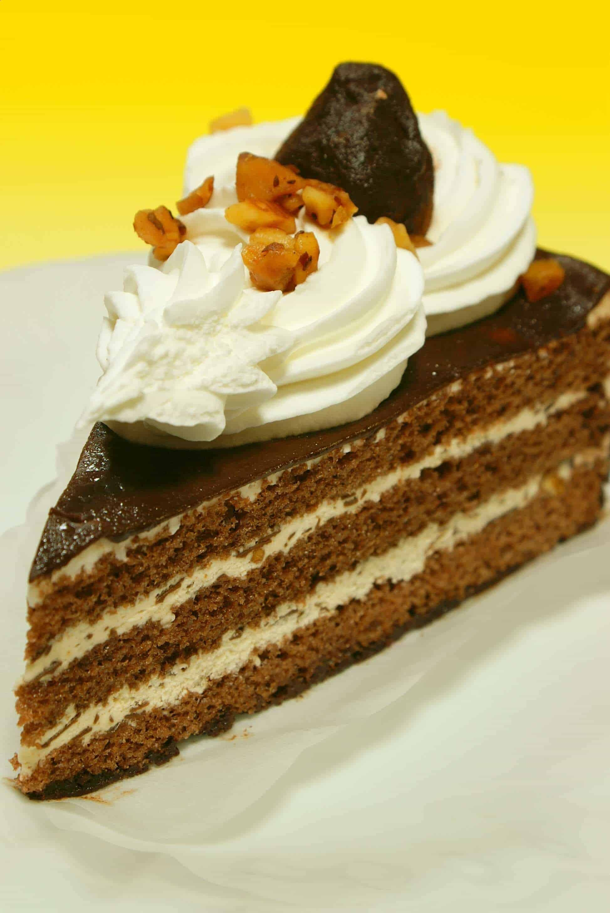 A decadent piece of chocolate cake with 3 layers of creme filling, a chocolate ganache shell and hand-whipped whipped cream