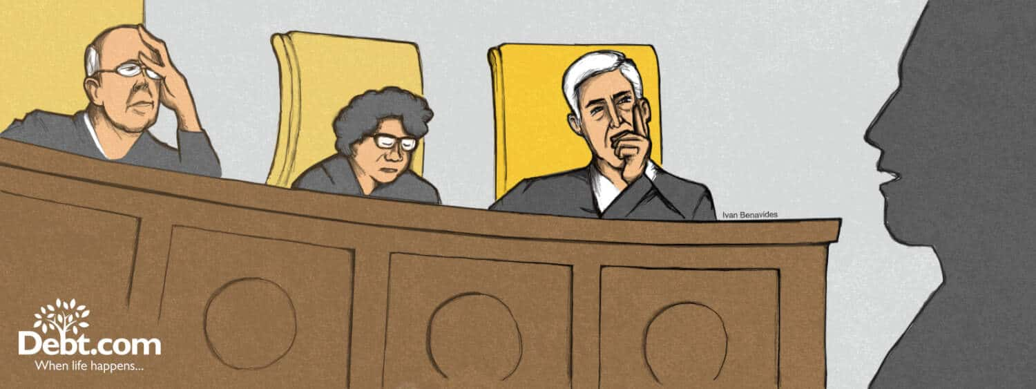 Neil Gorsuch sits in consideration of arguments in the Supreme Court (illustrated)