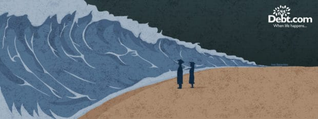 Graduates stare at a tsunami of student loan debt (illustrated)