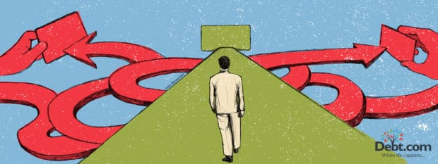 Illustration of man walking towards two paths symbolizing zero percent interest and deffered interest.