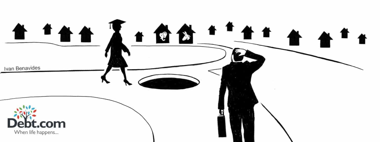 Debt.com debt news illustration by Ivan Benavides: Female student walks towards hole as businessman considers housing market