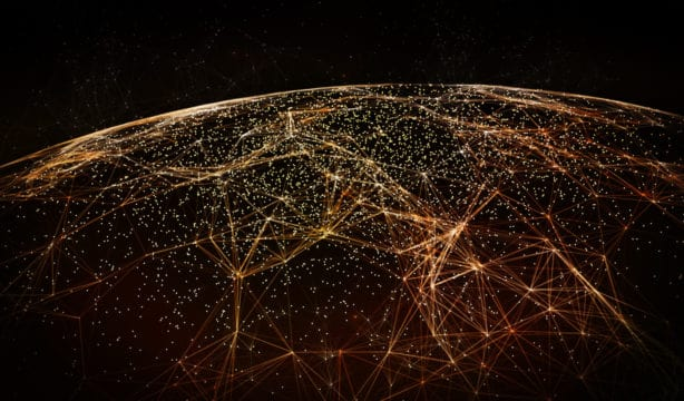 Space view of Earth at night with a global network lit up and connecting the world, with net neutrality all points are equal