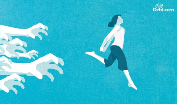 Break free from the clutches of back taxes, woman running away from grasping hands (illustrated)