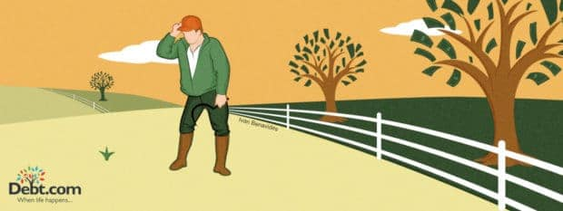 Man stands in a barren field next to a fruitful one (illustrated)