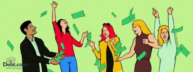 Debt.com Illustration by Ivan Benavides: 5 Big Spenders in Movies and TV throw money in the air