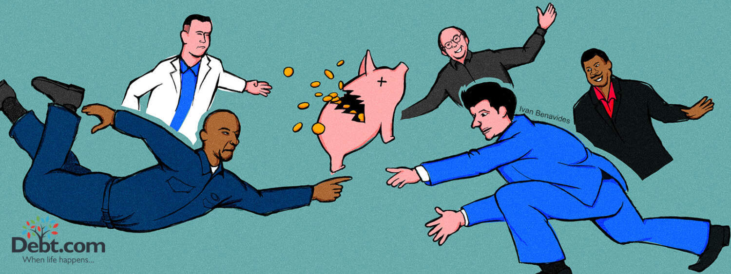 Debt.com Illustration by Ivan Benavides: 5 Male penny-pinching characters from movies and TV around broken piggy bank