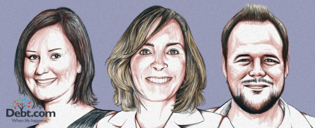 Portraits of James Duren, Jennifer Asiaka, and Tina Willis, who shared their debt stories with Debt.com
