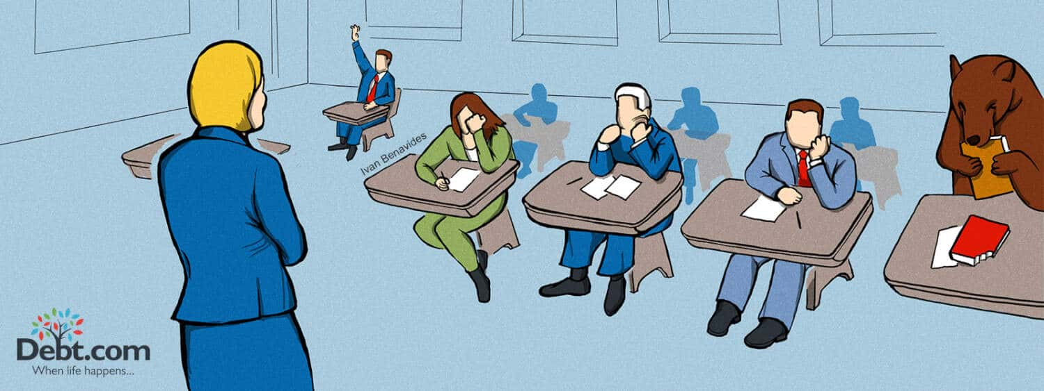 Betsy DeVos looks at a classroom of lawyers (illustrated)