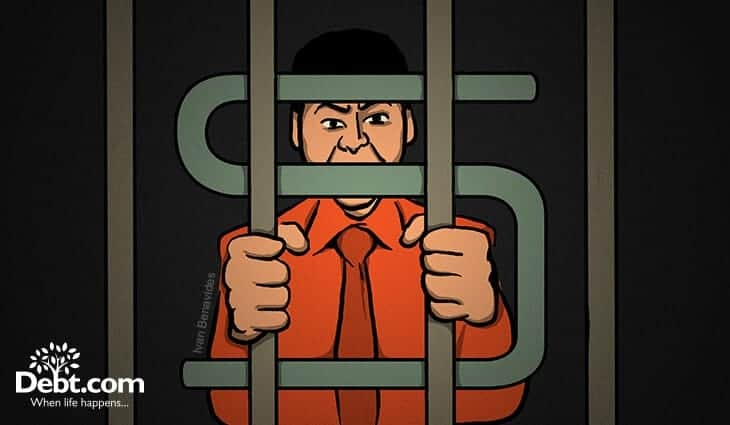 A man stands behind dollar sign bars of a debtors' prison, but can you go to jail for not paying credit cards?