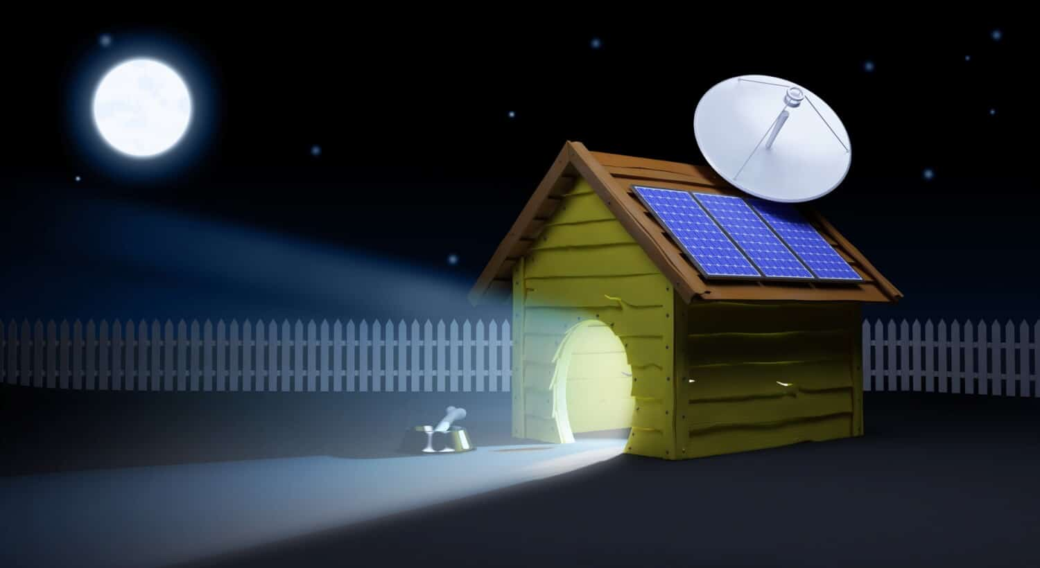 Illustration of luxury pet expenses: high tech dog house with solar panel and satellite dish on roof and interior lighting