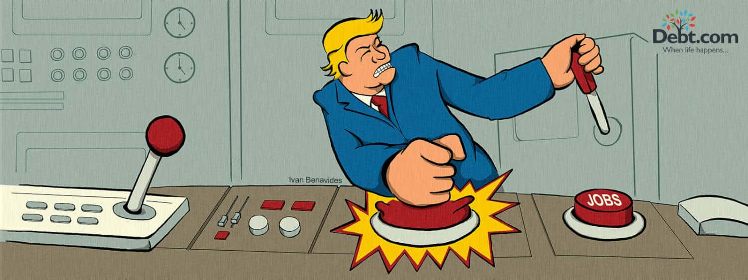 Donald Trump's jobs record isn't great, so he's pressing every jobs button he can (illustrated)