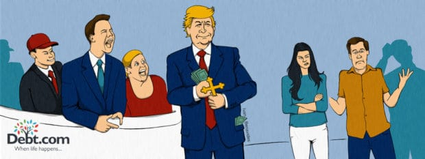 Donald Trump shows off his best presidential qualities, like caring about money for himself (illustrated)