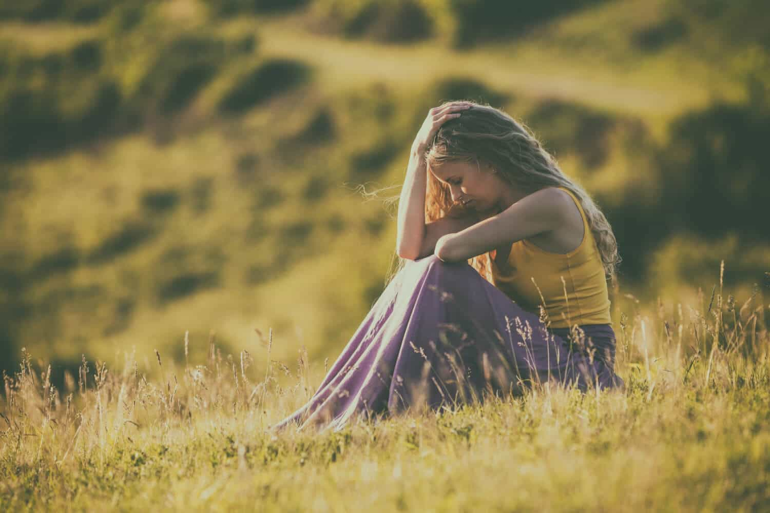 Woman depressed in the summer