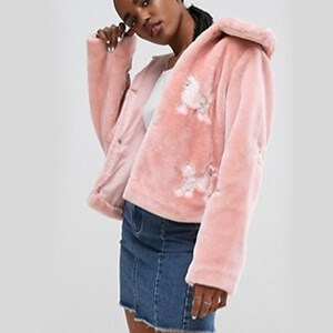 ASOS Faux Fur Jacket with Poodle Embroidery ASOS.com $103.00