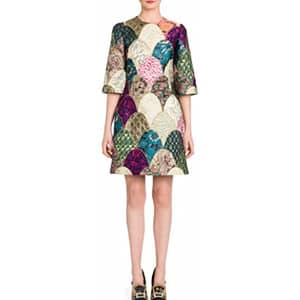 Dolce and Gabbana Jacquard and Patchwork Dress $5_395 Saks Fifth Avenue