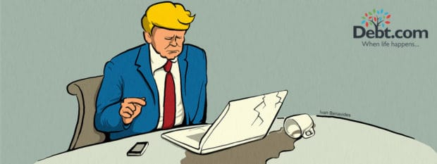 Donald Trump spills coffee on a laptop he doesn't know how to use while trying to understand cybersecurity (illustrated)