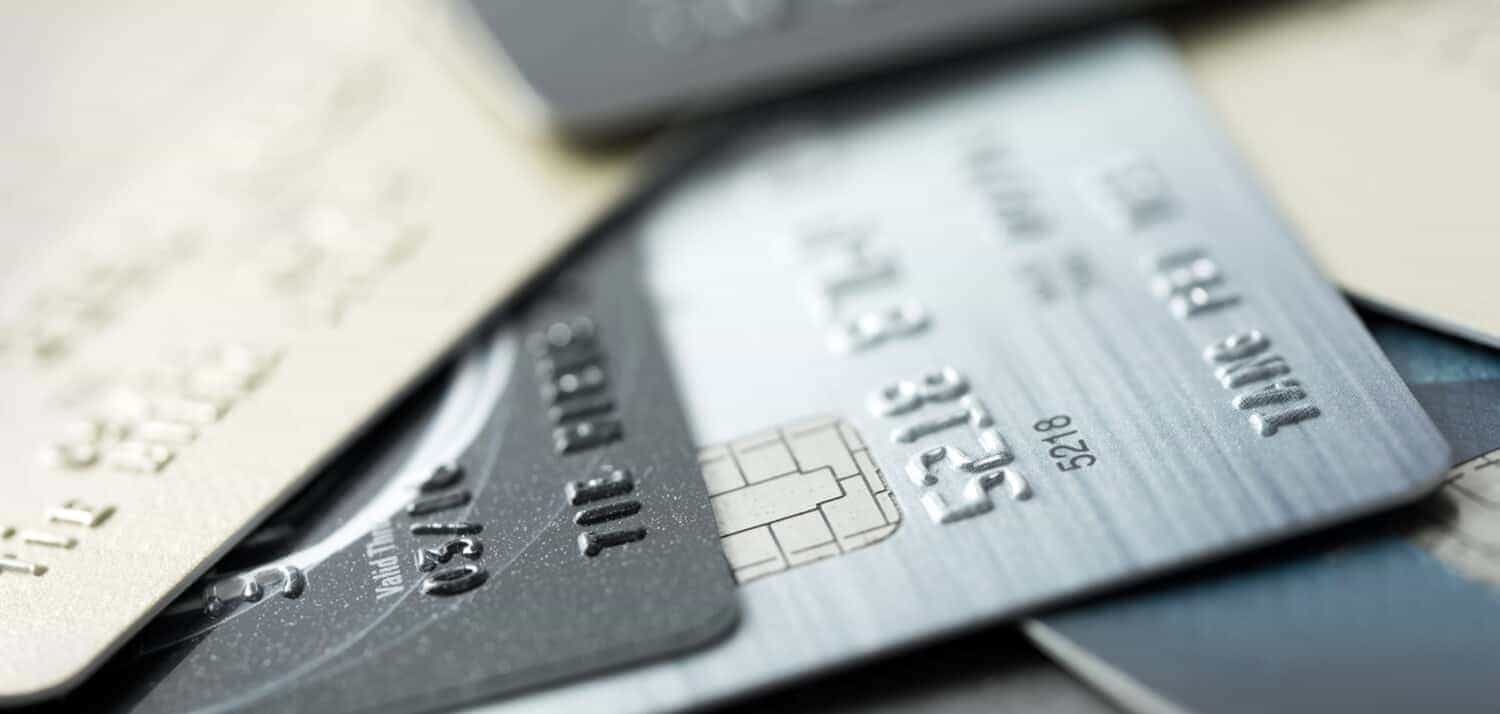 Group of credit cards.