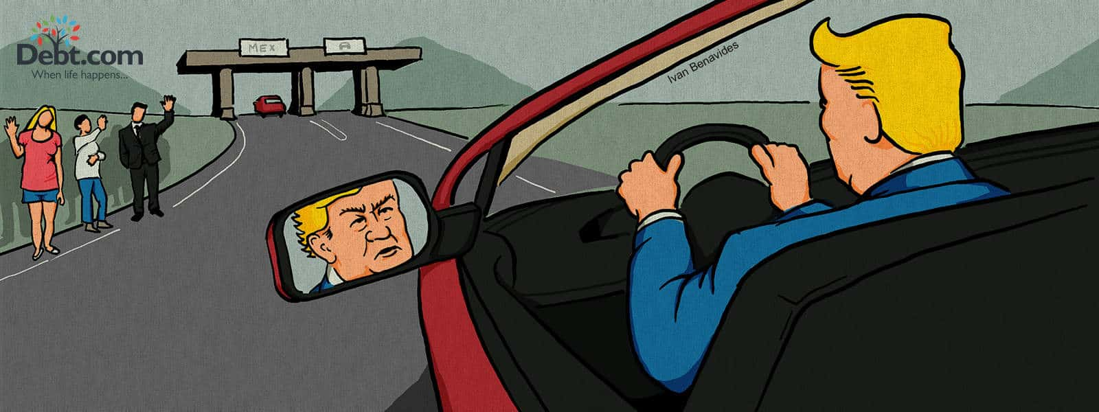 Donald Trump driving to Mexico for tax benefits while Americans wave goodbye (illustrated)