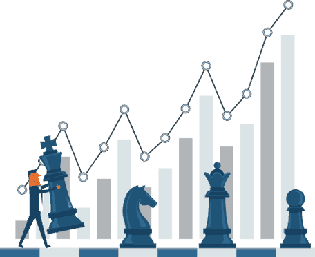 side view of a tiny man moving a chess piece the is a graph with growing data in the background (illustrated)