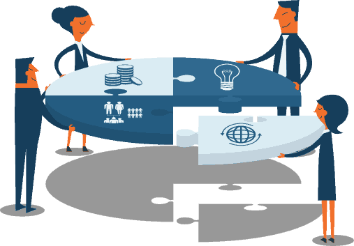 Become a Solutions Provider, business people around a roundtable dived into fourths, with globe, light, coin, and people icons on each area (illustrated)
