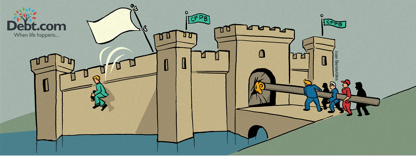 Richard Cordray flees the CFPB castle while Donald Trump rams down the door (illustrated)