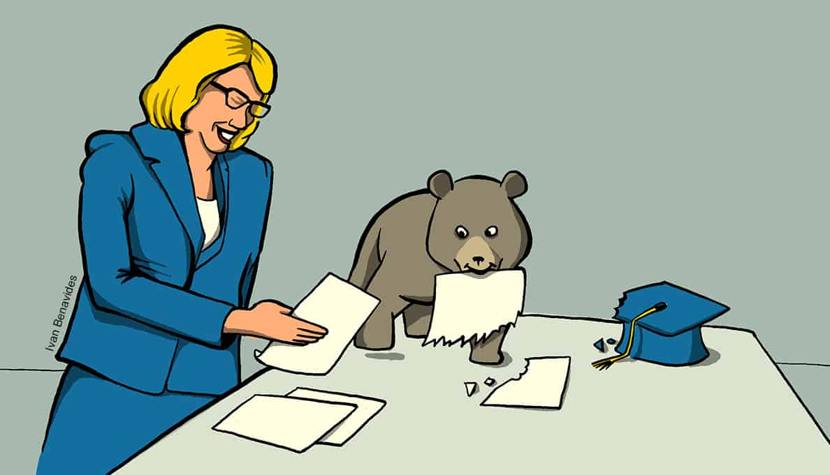 Betsy DeVos and a bear cub look at student loan paperwork (illustrated)