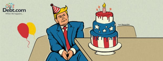 Donald Trump celebrates the anniversary of his election with a birthday cake (illustrated)