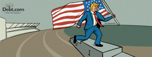 Donald Trump takes an Olympic victory lap for GDP growth (illustrated)