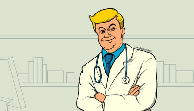 Donald Trump as a doctor (illustrated)