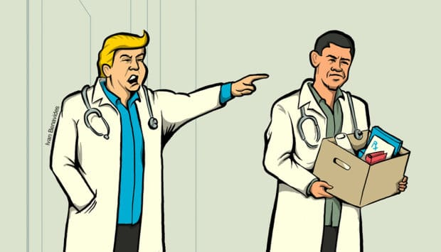 Dr. Trump orders Dr. Obama to leave after repealing the individual mandate (illustrated)