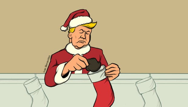 Donald Trump stuffs coal into a stocking (illustrated)