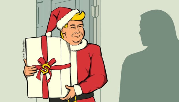 Donald Trump as Santa putting a present under the Christmas tree (illustrated)