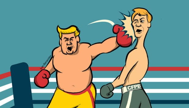 Donald Trump knocks CFPB Director Richard Cordray down for the count in the boxing ring (illustrated)