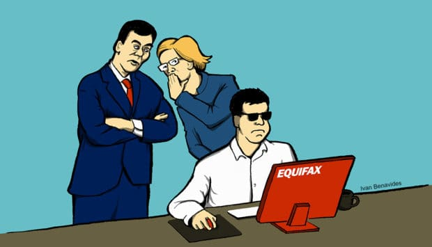 Congress watches over the shoulder of an Equifax employee to prevent data breaches (illustrated)
