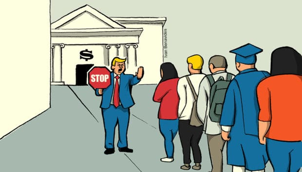Donald Trump holds up a stop sign to would-be college students (illustrated)