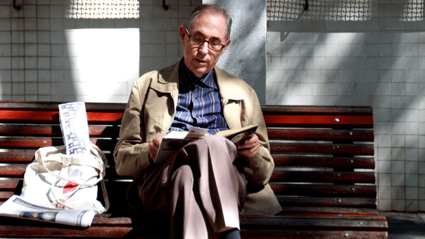 A retired elderly man reading a book on a bench