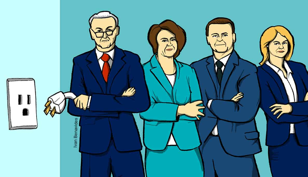 Democratic Senators pull the plug on the federal government (illustrated)
