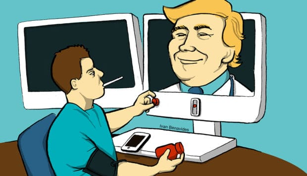 Dr. Donald Trump gives medical advice through a computer and makes telemedicine practical (illustrated)