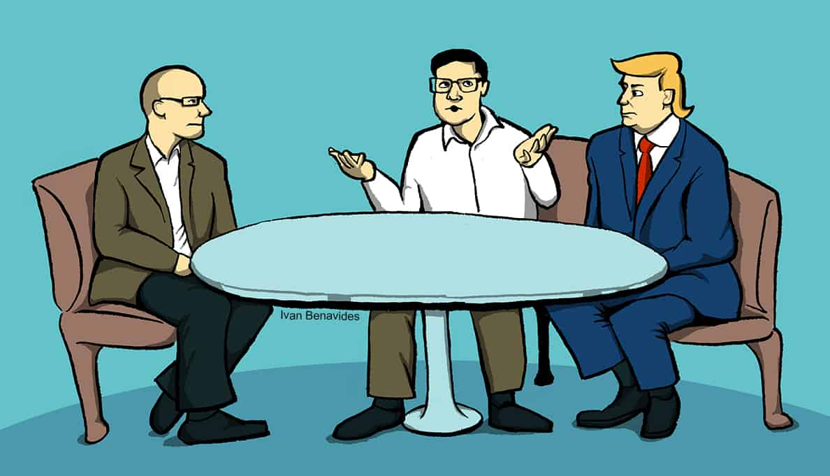 Debt.com political columnists Brandon Ballenger and Holden Miller debate Trump's financial impact on consumers (illustrated)