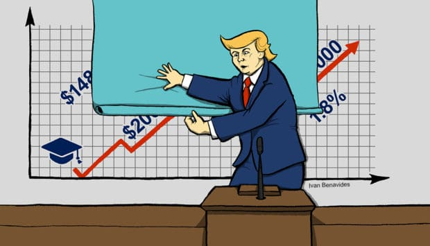 Donald Trump hides bad economic numbers in his State of the Union address (illustrated)