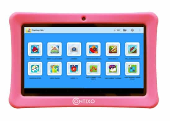 "Contixo Kid Safe 7"" HD Tablet WiFi 8GB Bluetooth, Free Games Pre-Installed, Kids-Place Parental Control W/ Kid-Proof Case (Pink)"