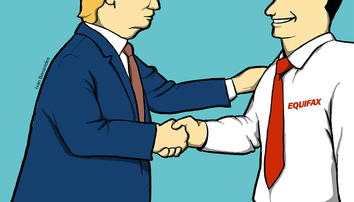 Congress and Trump shake hands with Equifax after data breach (illustrated)