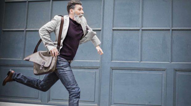 Guy running to job