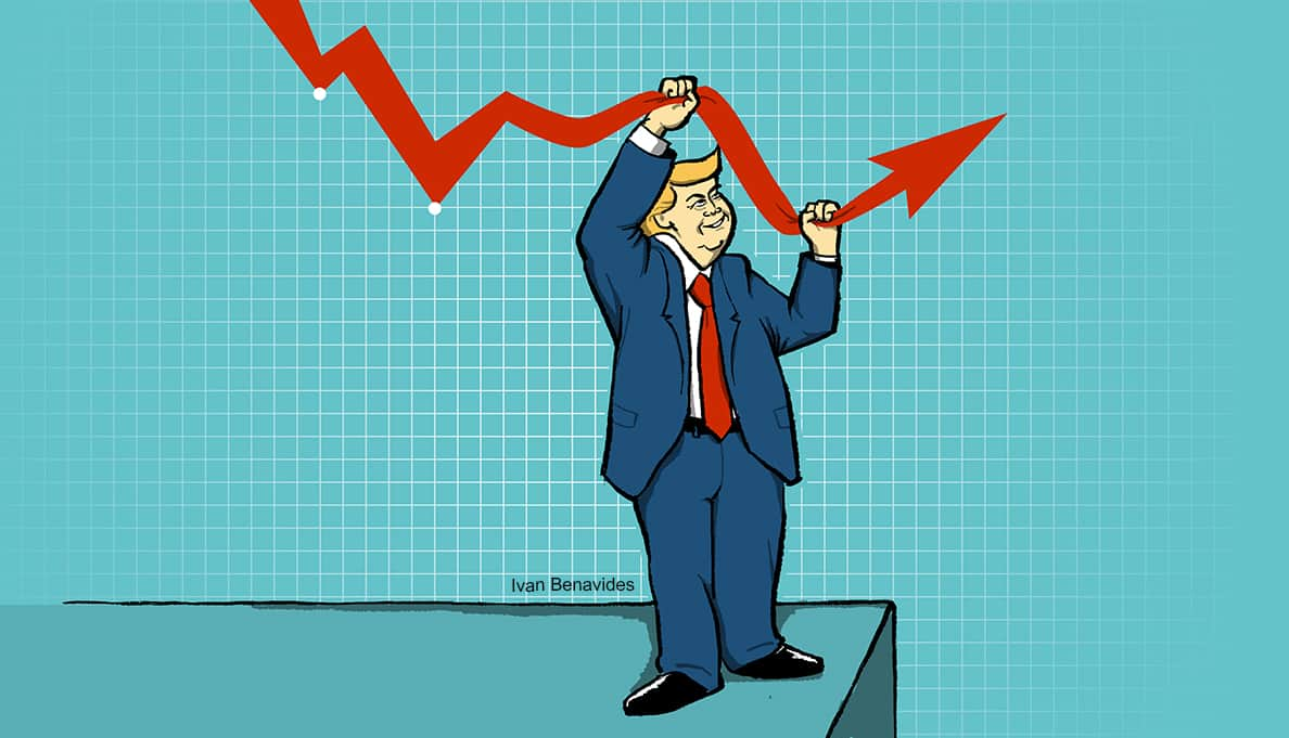 Donald Trump lifts the stock market in a healthy economy (illustrated)